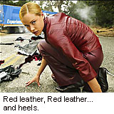 red leather, red leather